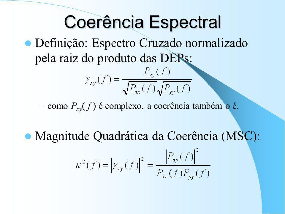 Coerência Espectral Definição: Espectro Cruzado normalizado pela raiz do produto das DEPs: como Pxy( f ) é complexo, a coerência também o é.
