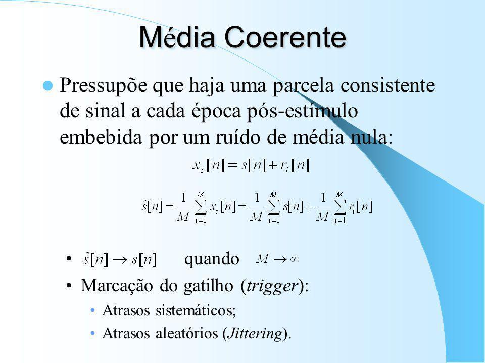 Média Coerente Pressupõe que haja uma parcela consistente de sinal a cada época pós-estímulo embebida por um ruído de média nula: