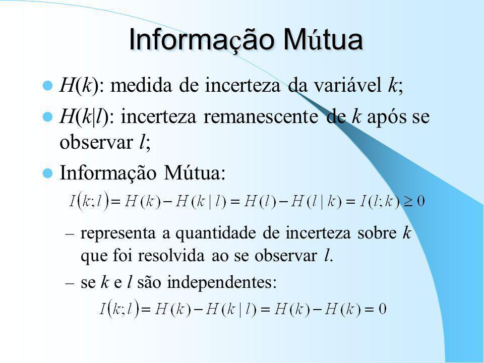 Informação Mútua H(k): medida de incerteza da variável k;