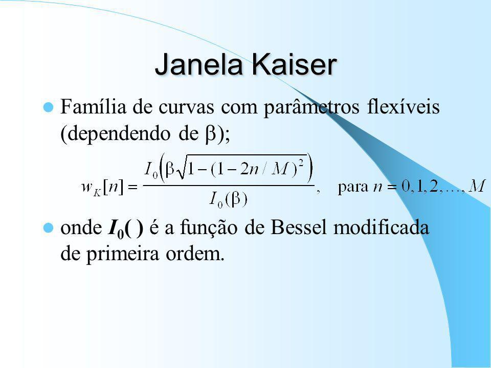 Janela Kaiser Família de curvas com parâmetros flexíveis (dependendo de b); onde I0( ) é a função de Bessel modificada de primeira ordem.