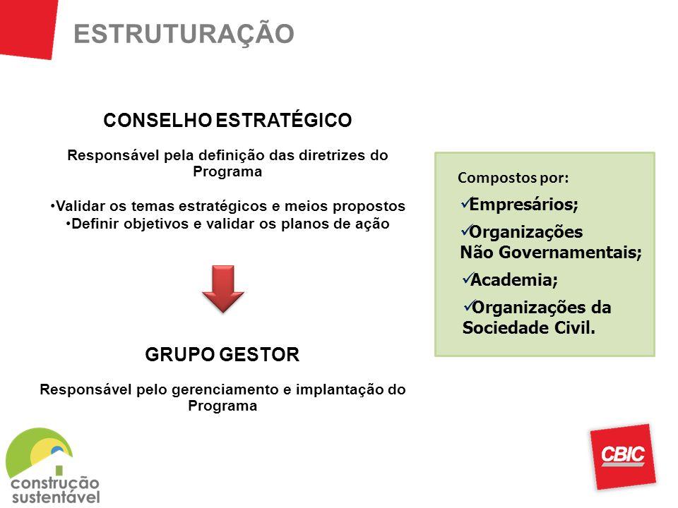 ESTRUTURAÇÃO CONSELHO ESTRATÉGICO GRUPO GESTOR Compostos por: