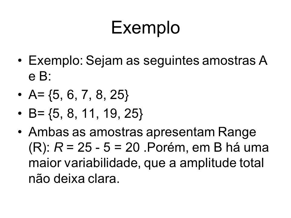 Exemplo Exemplo: Sejam as seguintes amostras A e B: