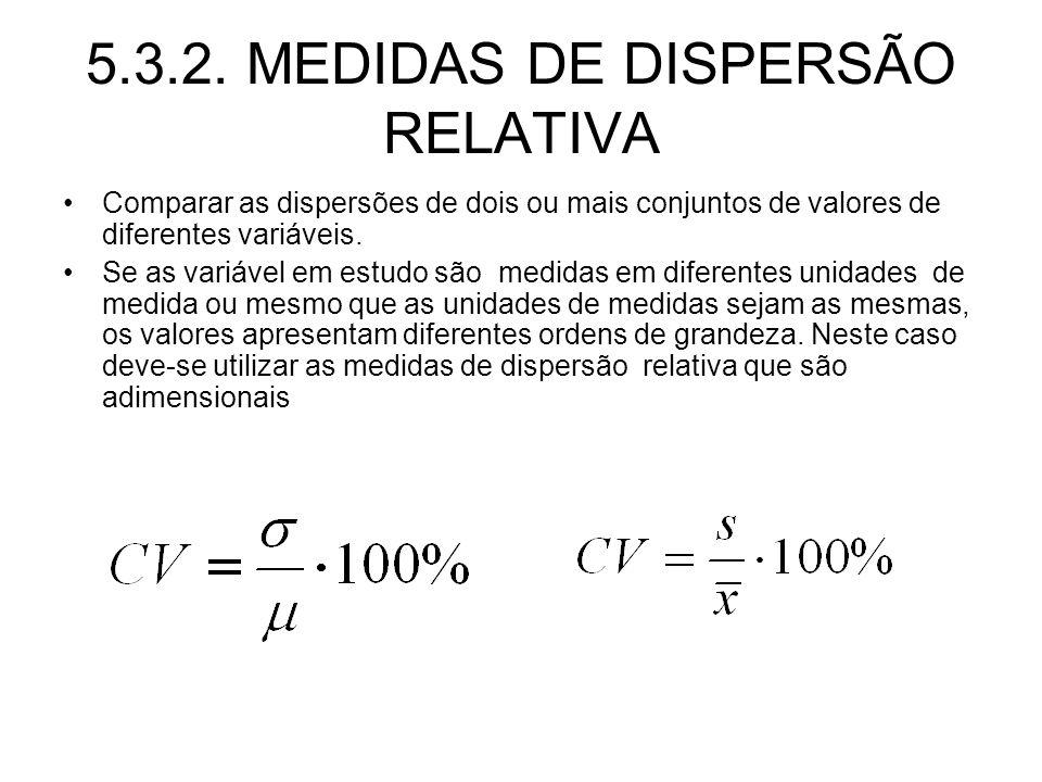 5.3.2. MEDIDAS DE DISPERSÃO RELATIVA