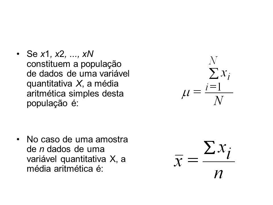 Se x1, x2, ..., xN constituem a população de dados de uma variável quantitativa X, a média aritmética simples desta população é: