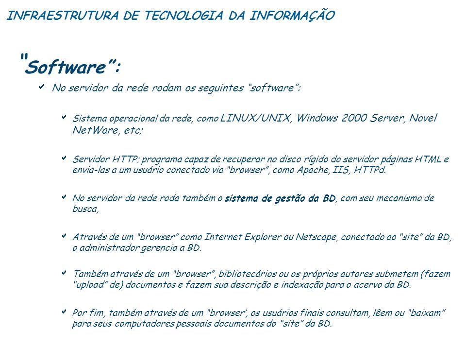 Software : INFRAESTRUTURA DE TECNOLOGIA DA INFORMAÇÃO