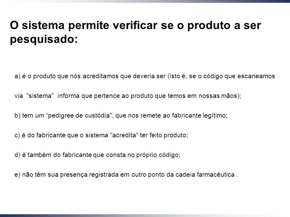 O sistema permite verificar se o produto a ser pesquisado: