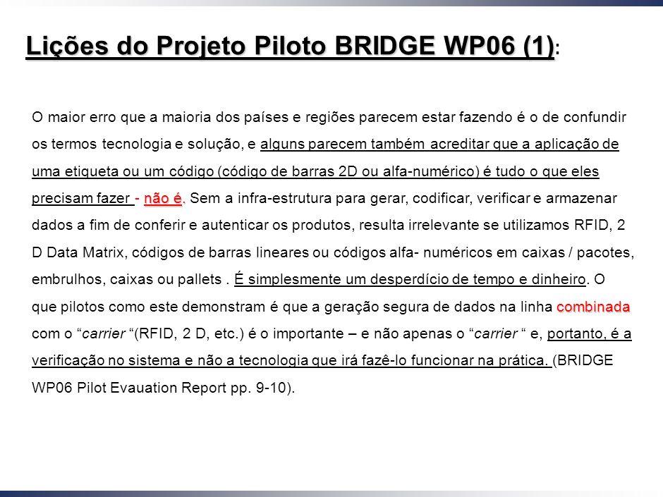 Lições do Projeto Piloto BRIDGE WP06 (1):