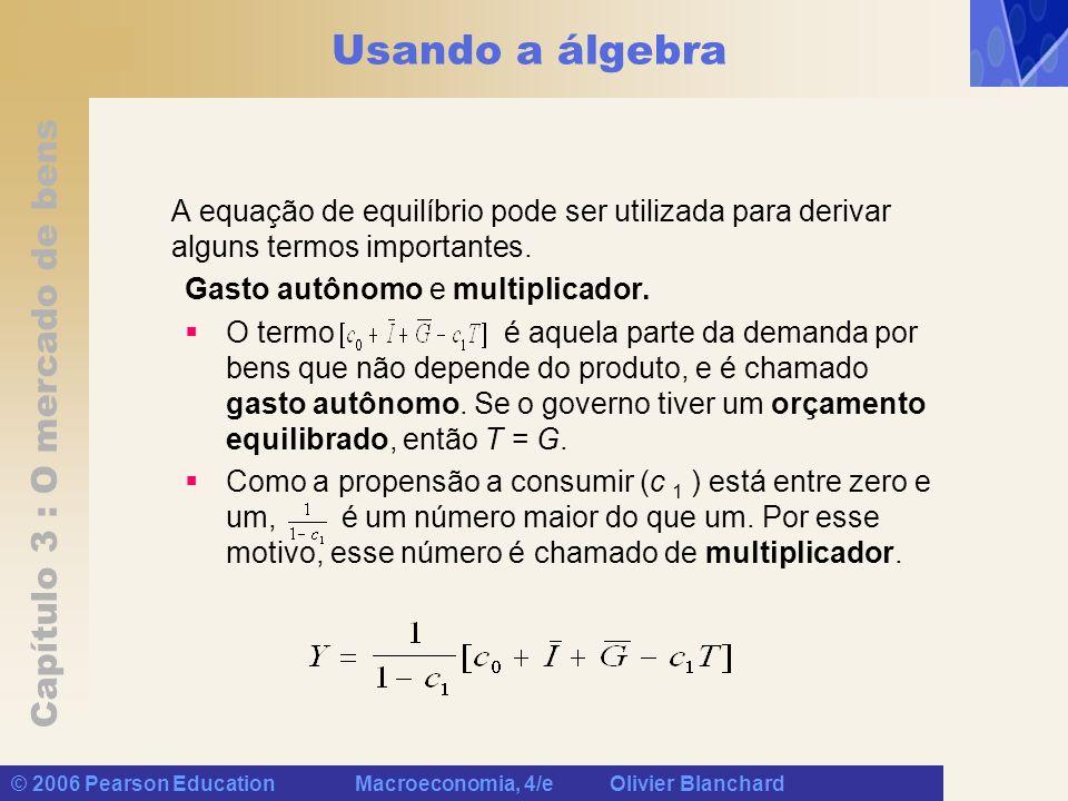 Usando a álgebra A equação de equilíbrio pode ser utilizada para derivar alguns termos importantes.