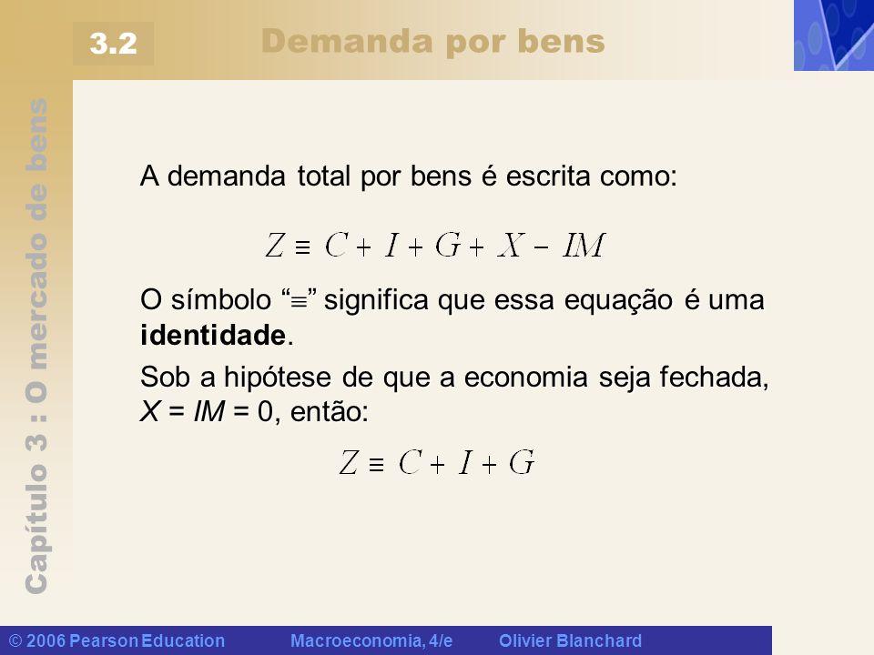Demanda por bens 3.2 A demanda total por bens é escrita como: