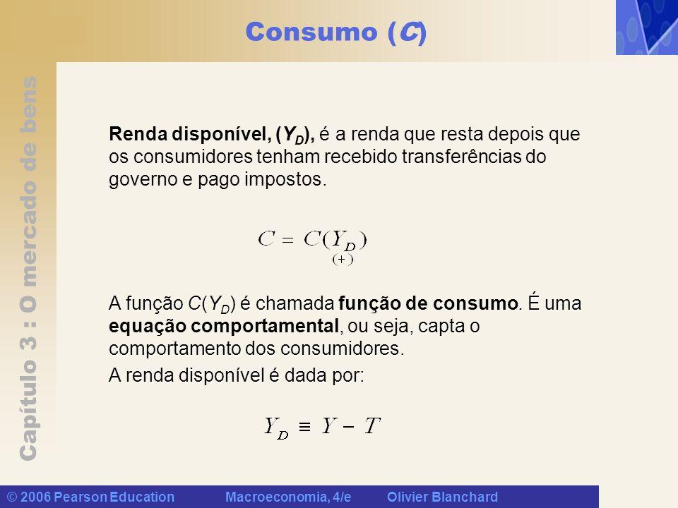 Consumo (C) Renda disponível, (YD), é a renda que resta depois que os consumidores tenham recebido transferências do governo e pago impostos.