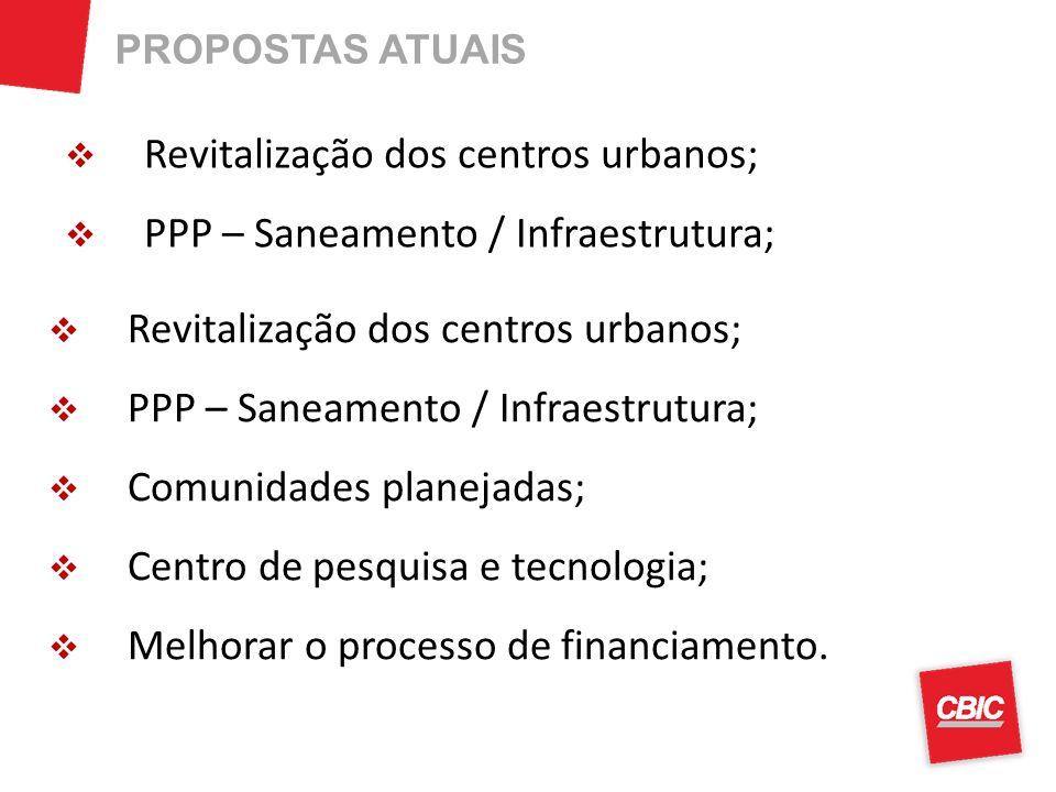 Revitalização dos centros urbanos; PPP – Saneamento / Infraestrutura;