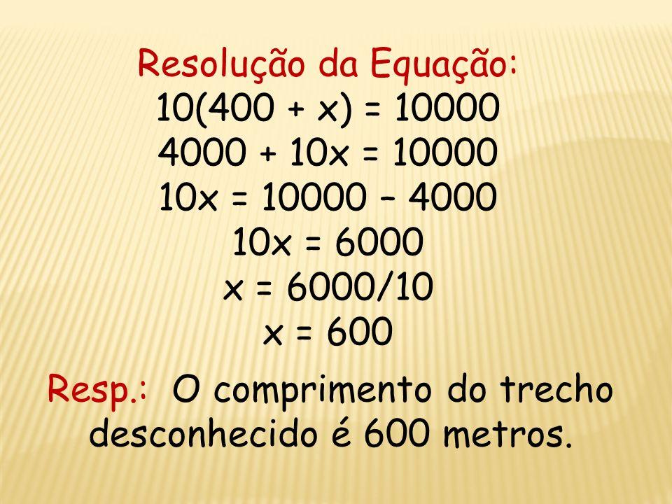 Resolução da Equação: 10(400 + x) = 10000 4000 + 10x = 10000