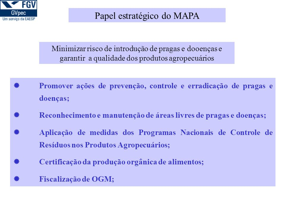 Papel estratégico do MAPA