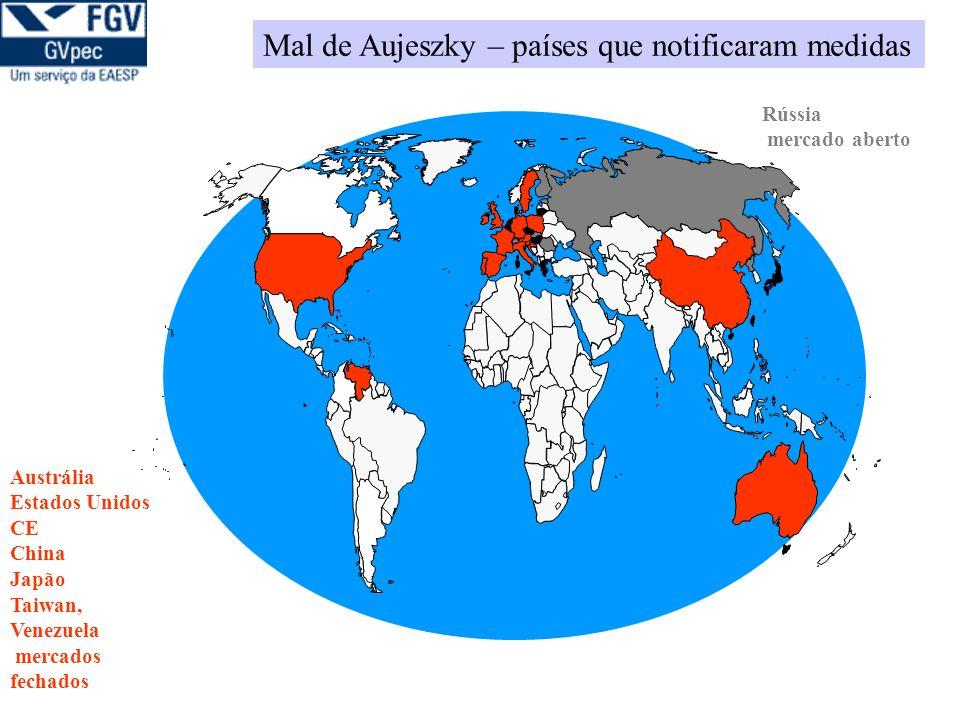 Mal de Aujeszky – países que notificaram medidas