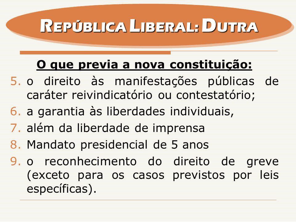 REPÚBLICA LIBERAL: DUTRA O que previa a nova constituição: