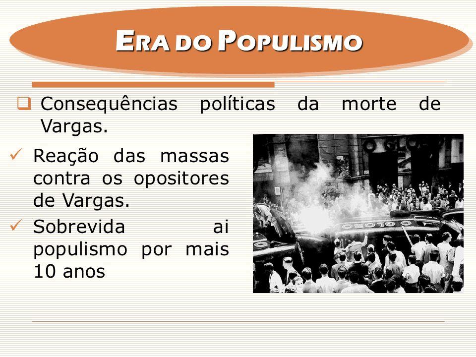 ERA DO POPULISMO Consequências políticas da morte de Vargas.