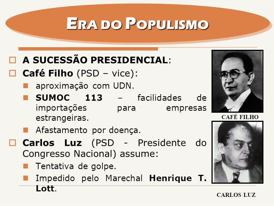 ERA DO POPULISMO A SUCESSÃO PRESIDENCIAL: Café Filho (PSD – vice):