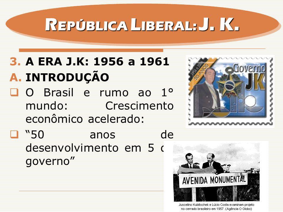 REPÚBLICA LIBERAL: J. K. A ERA J.K: 1956 a 1961 INTRODUÇÃO