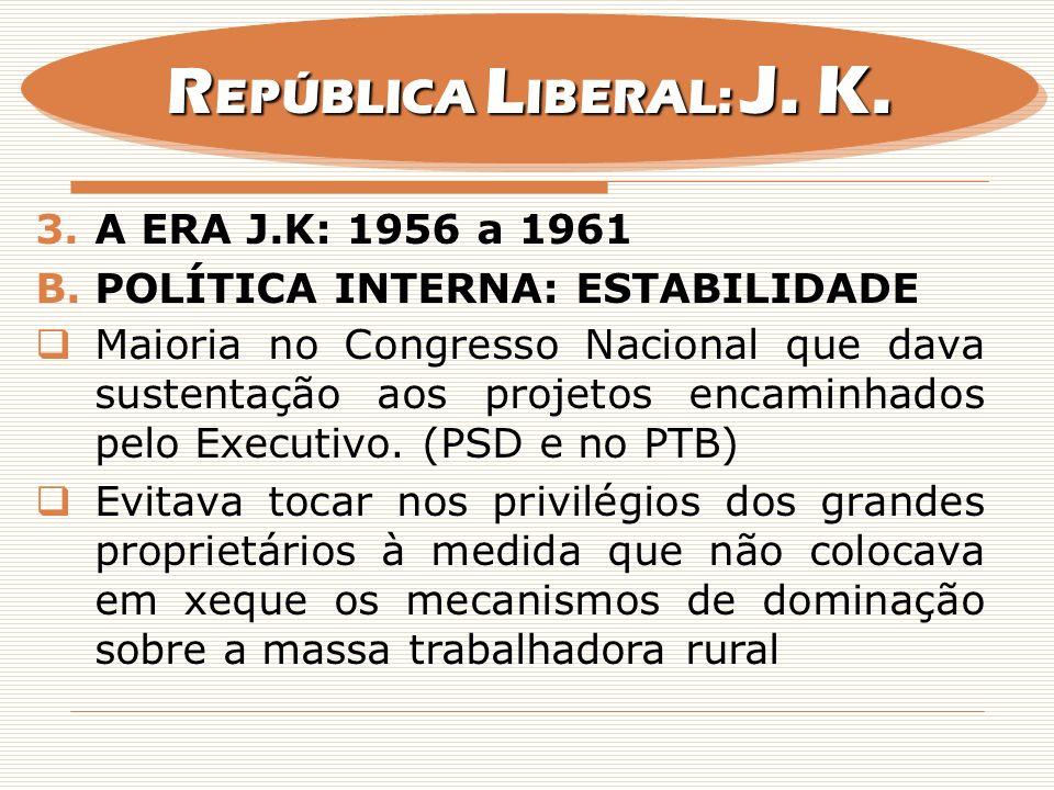 REPÚBLICA LIBERAL: J. K. A era j.k: 1956 a 1961