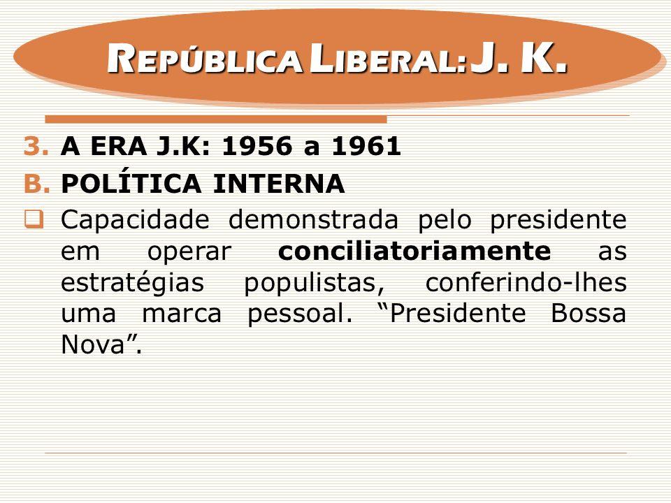 REPÚBLICA LIBERAL: J. K. A era j.k: 1956 a 1961 Política interna