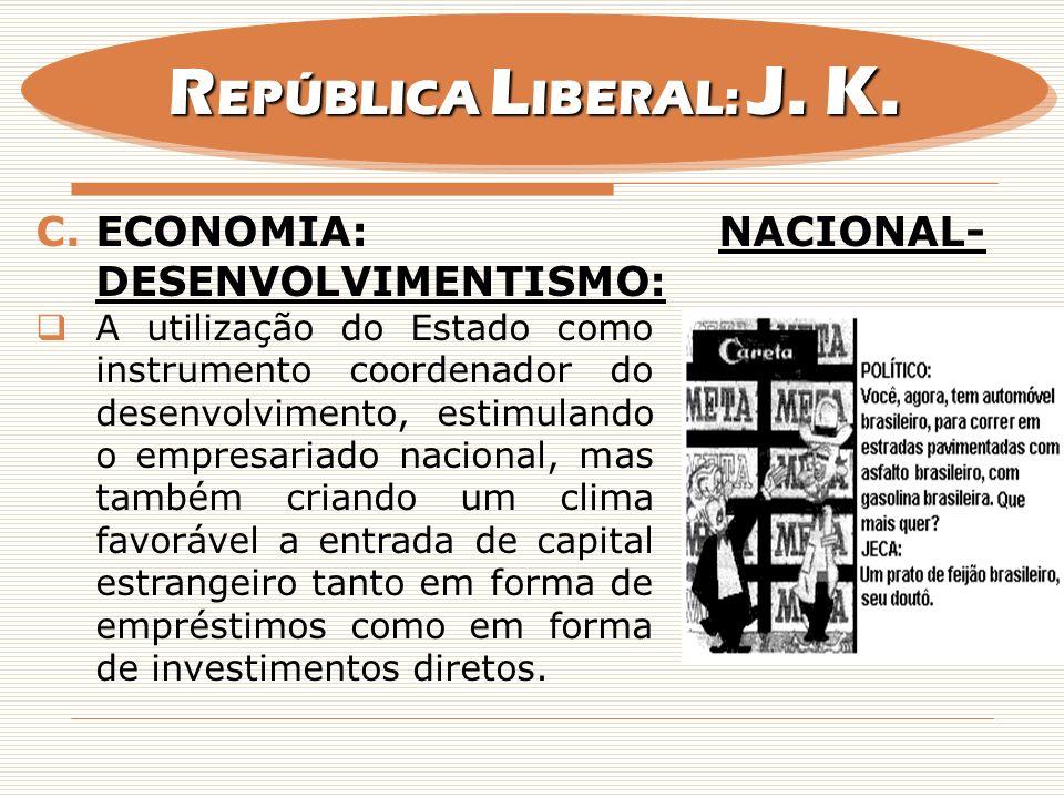 REPÚBLICA LIBERAL: J. K. Economia: Nacional-desenvolvimentismo: