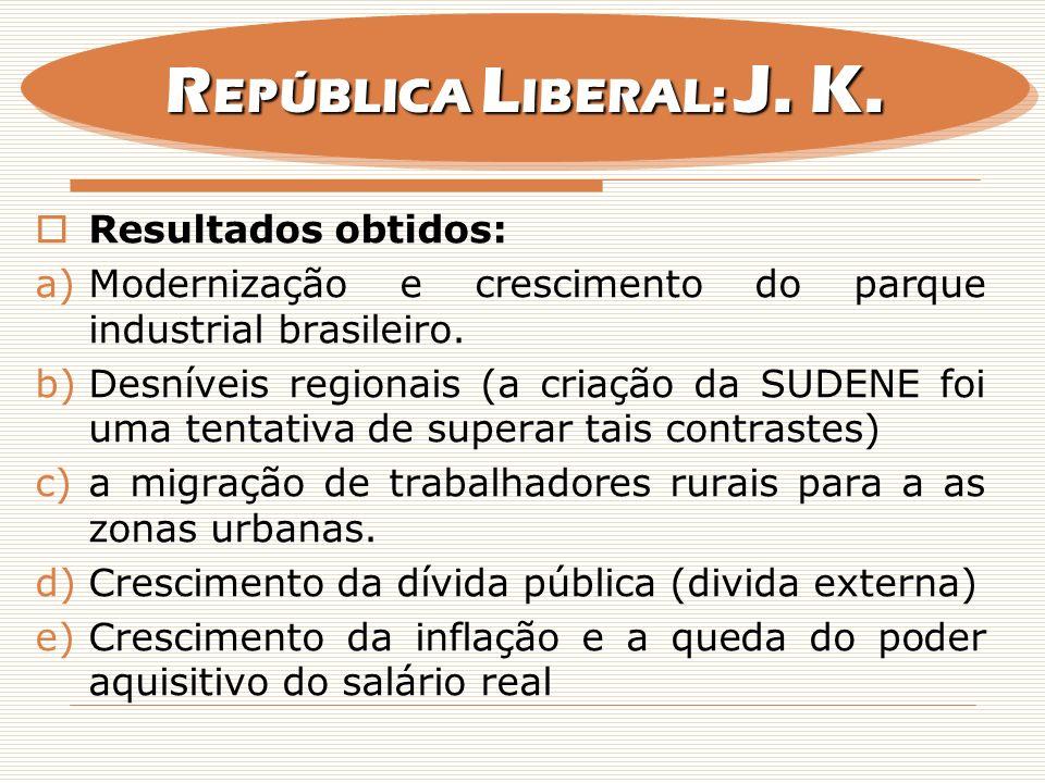 REPÚBLICA LIBERAL: J. K. Resultados obtidos: