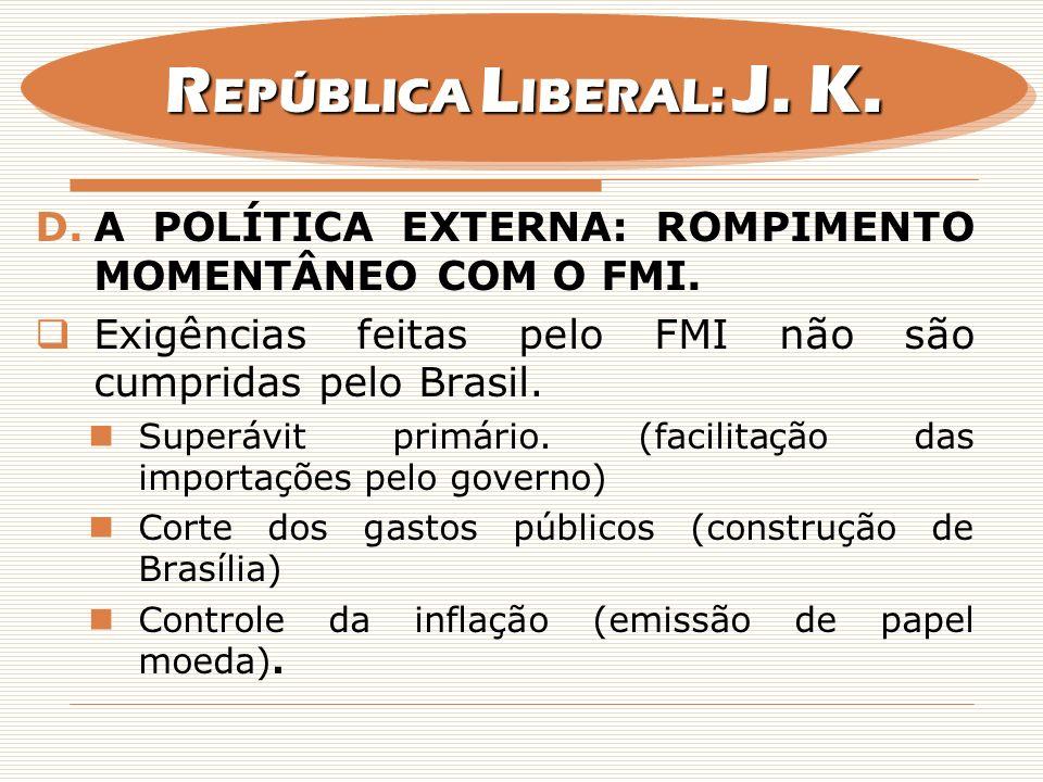REPÚBLICA LIBERAL: J. K. A POLÍTICA EXTERNA: ROMPIMENTO MOMENTÂNEO COM O FMI. Exigências feitas pelo FMI não são cumpridas pelo Brasil.