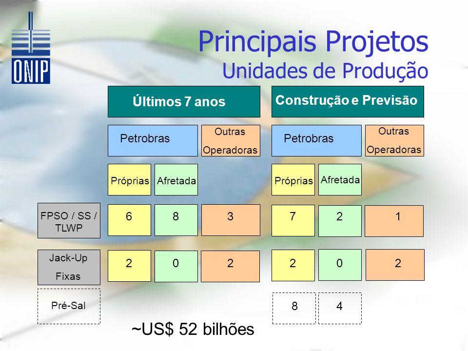 Principais Projetos Unidades de Produção