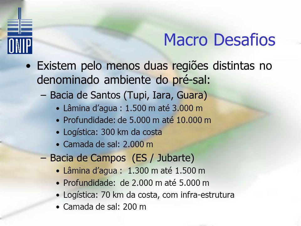Macro Desafios Existem pelo menos duas regiões distintas no denominado ambiente do pré-sal: Bacia de Santos (Tupi, Iara, Guara)