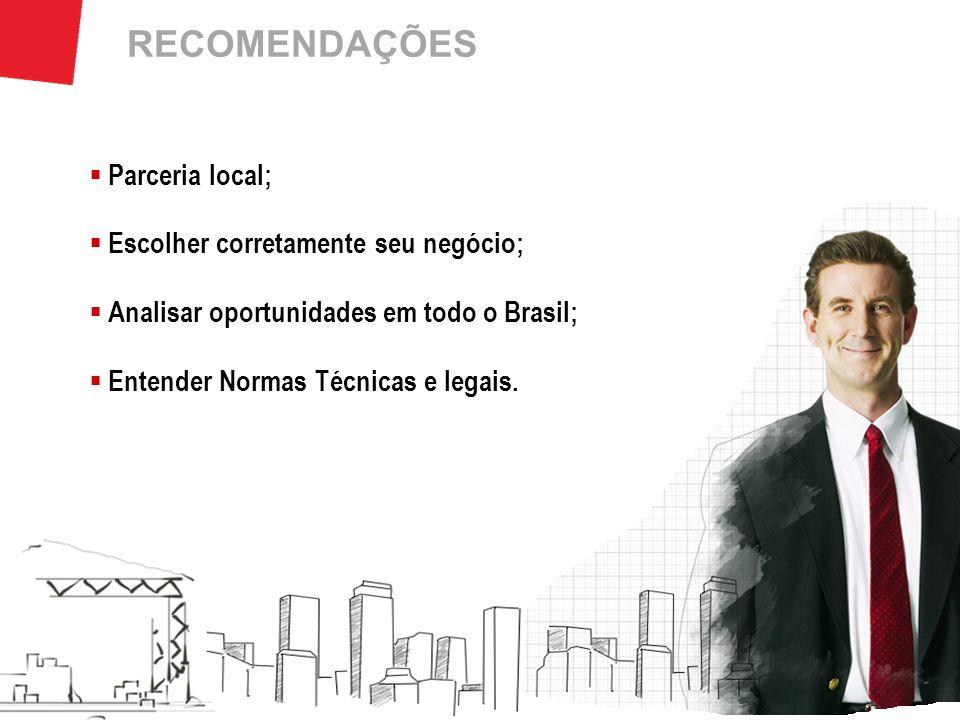 RECOMENDAÇÕES Parceria local; Escolher corretamente seu negócio;