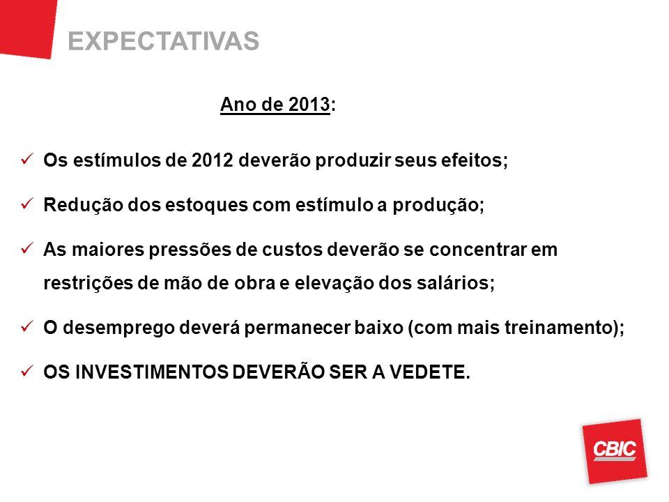EXPECTATIVAS Ano de 2013: Os estímulos de 2012 deverão produzir seus efeitos; Redução dos estoques com estímulo a produção;