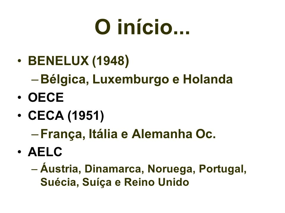 O início... BENELUX (1948) Bélgica, Luxemburgo e Holanda OECE