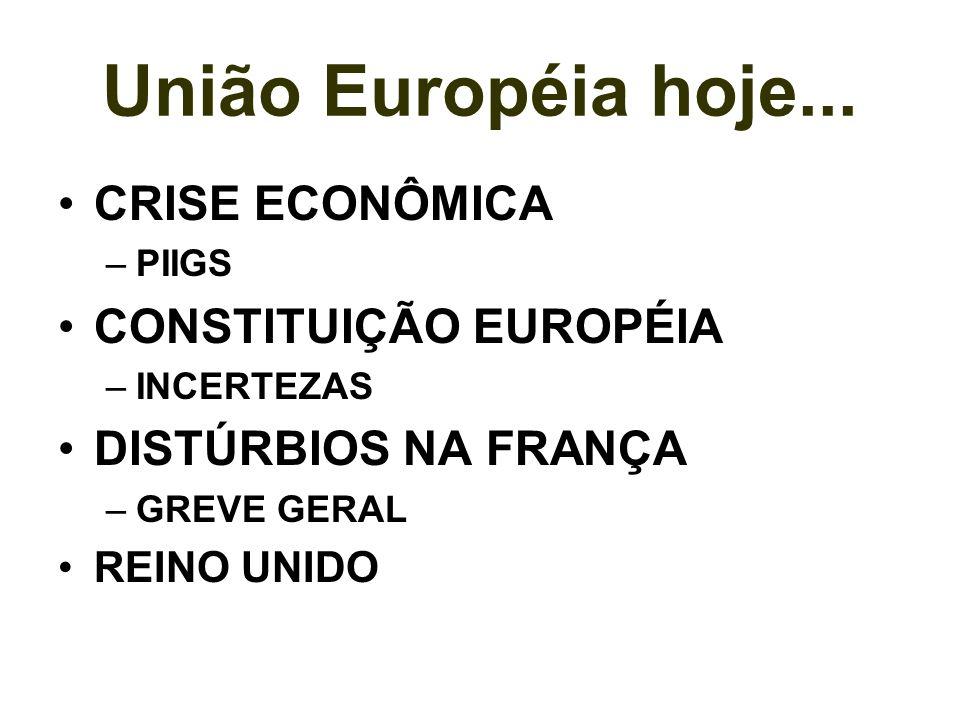 União Européia hoje... CRISE ECONÔMICA CONSTITUIÇÃO EUROPÉIA