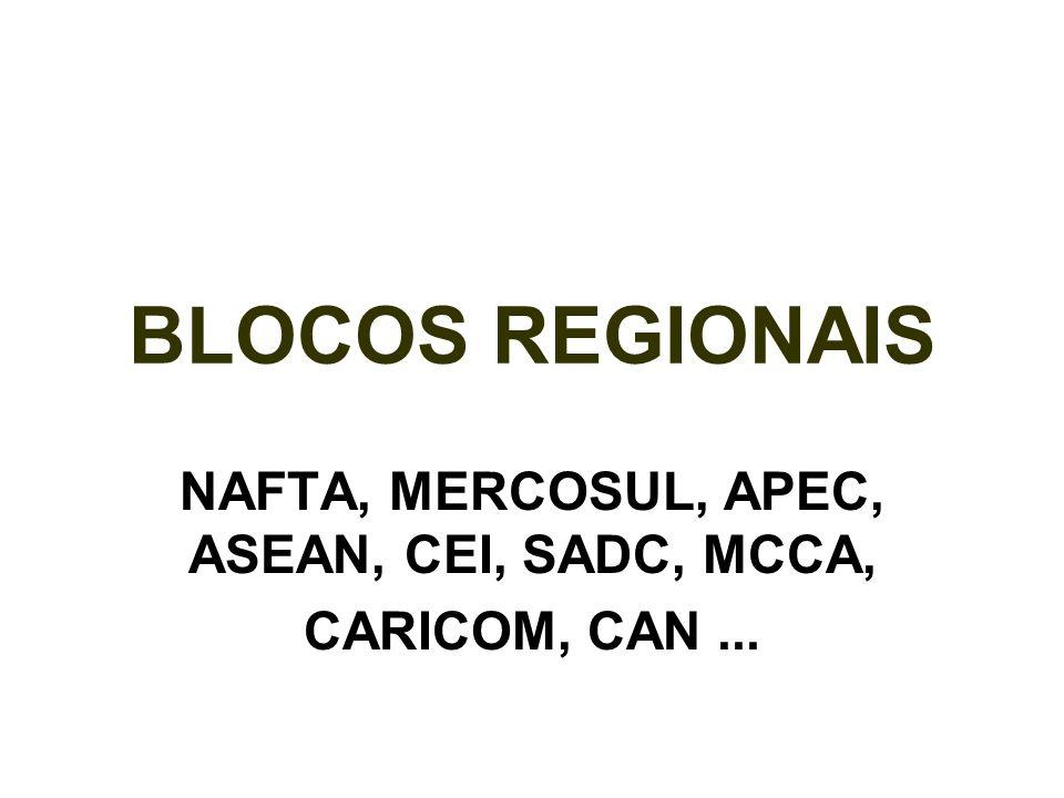 NAFTA, MERCOSUL, APEC, ASEAN, CEI, SADC, MCCA, CARICOM, CAN ...