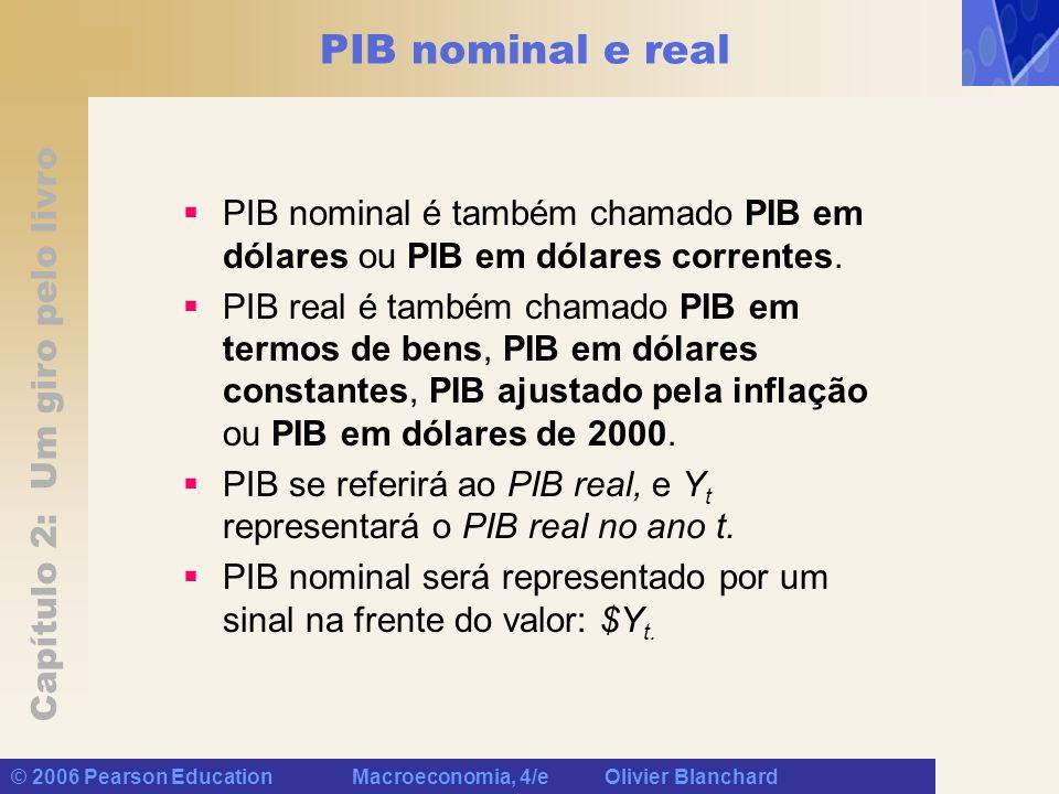 PIB nominal e real PIB nominal é também chamado PIB em dólares ou PIB em dólares correntes.