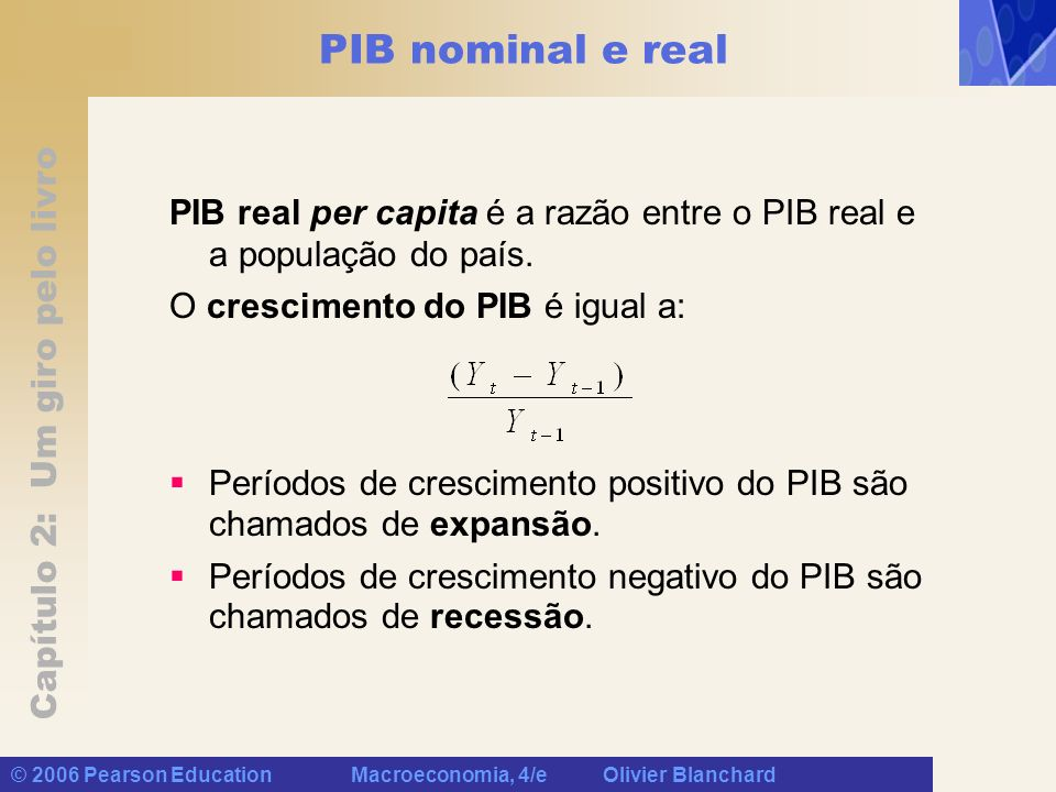 PIB nominal e real PIB real per capita é a razão entre o PIB real e a população do país. O crescimento do PIB é igual a: