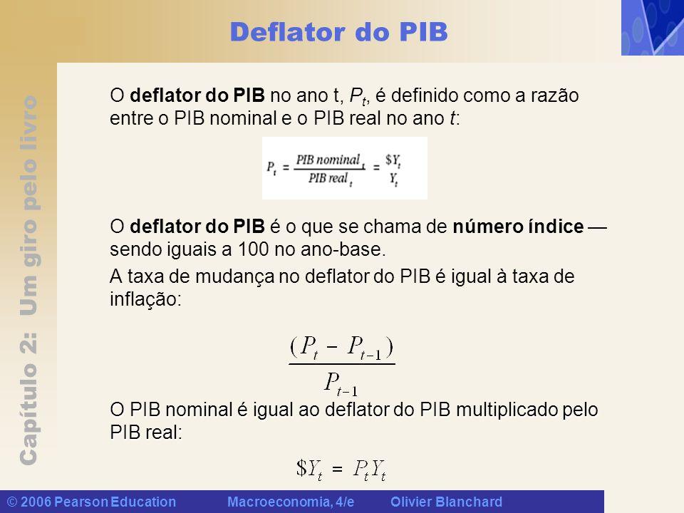 Deflator do PIB O deflator do PIB no ano t, Pt, é definido como a razão entre o PIB nominal e o PIB real no ano t: