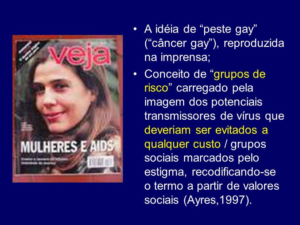 A idéia de peste gay ( câncer gay ), reproduzida na imprensa;