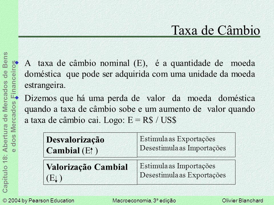 Taxa de Câmbio A taxa de câmbio nominal (E), é a quantidade de moeda doméstica que pode ser adquirida com uma unidade da moeda estrangeira.