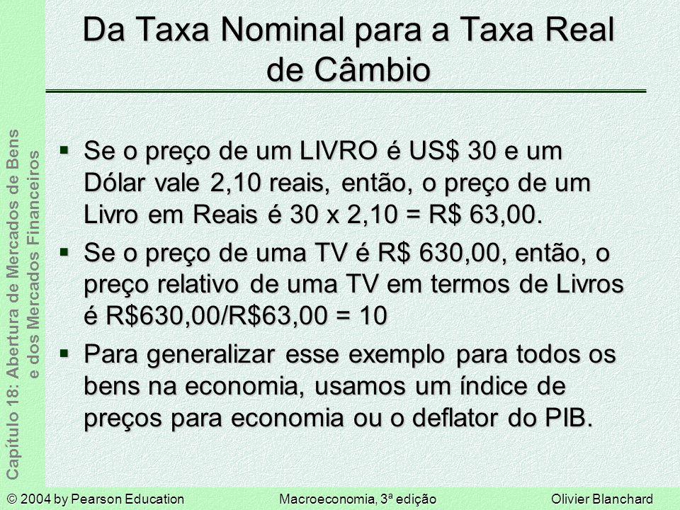 Da Taxa Nominal para a Taxa Real de Câmbio