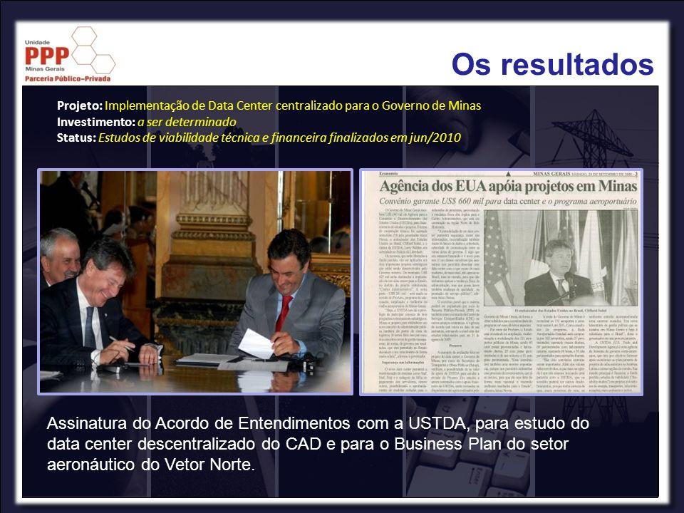Os resultadosProjeto: Implementação de Data Center centralizado para o Governo de Minas. Investimento: a ser determinado.