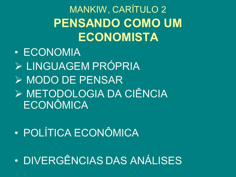 MANKIW, CARÍTULO 2 PENSANDO COMO UM ECONOMISTA