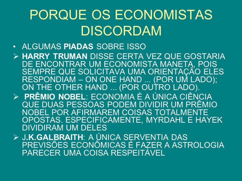 PORQUE OS ECONOMISTAS DISCORDAM