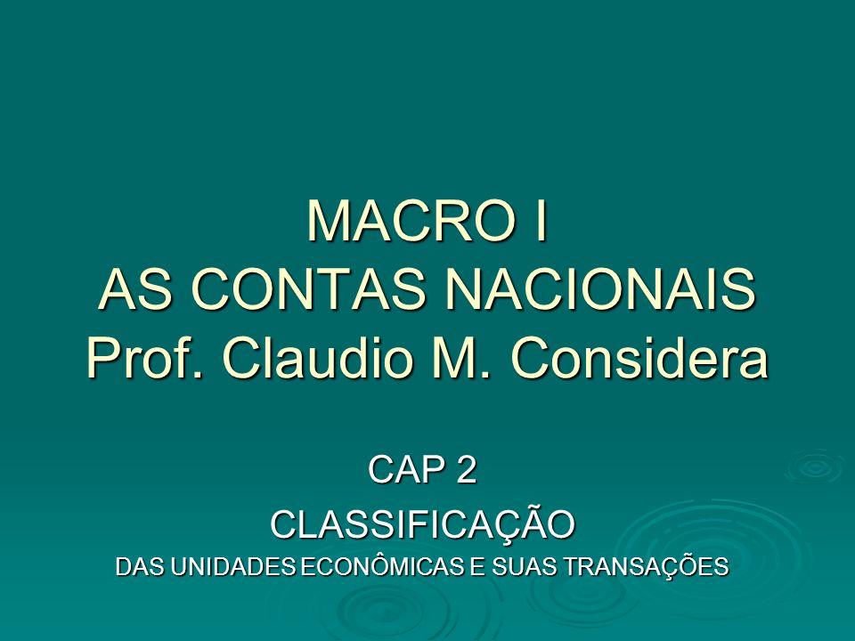 MACRO I AS CONTAS NACIONAIS Prof. Claudio M. Considera