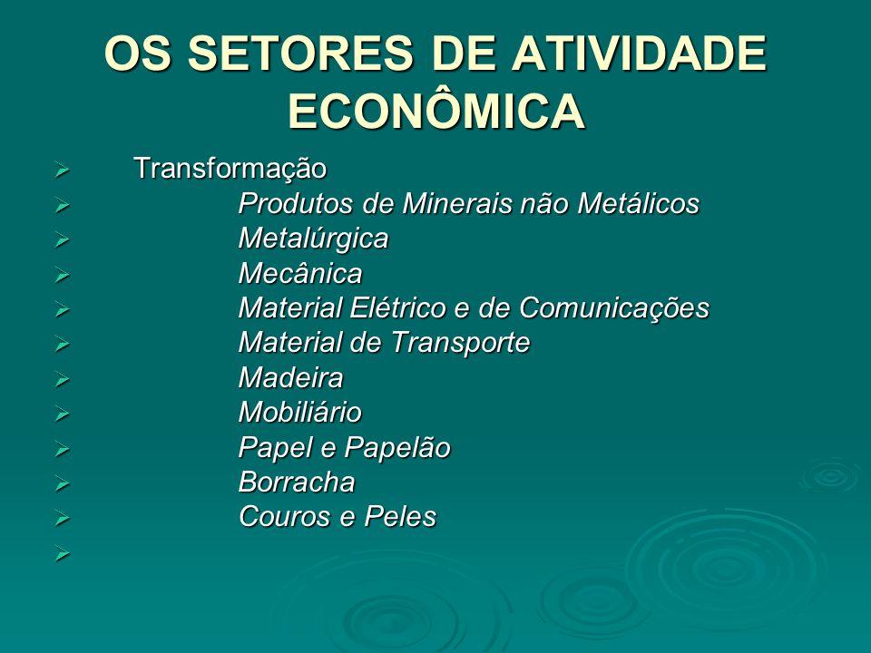 OS SETORES DE ATIVIDADE ECONÔMICA