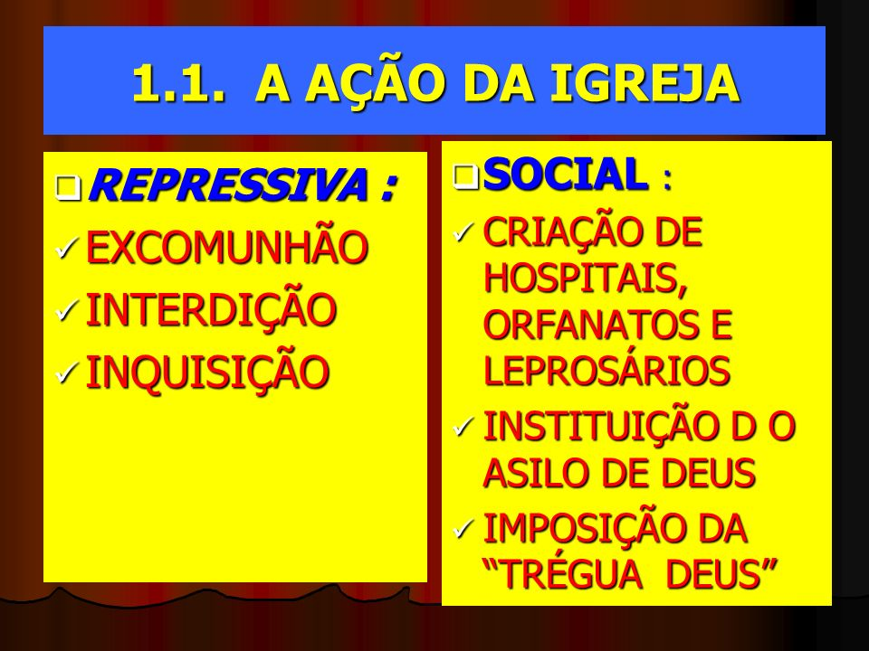 1.1. A AÇÃO DA IGREJA SOCIAL : REPRESSIVA : EXCOMUNHÃO INTERDIÇÃO