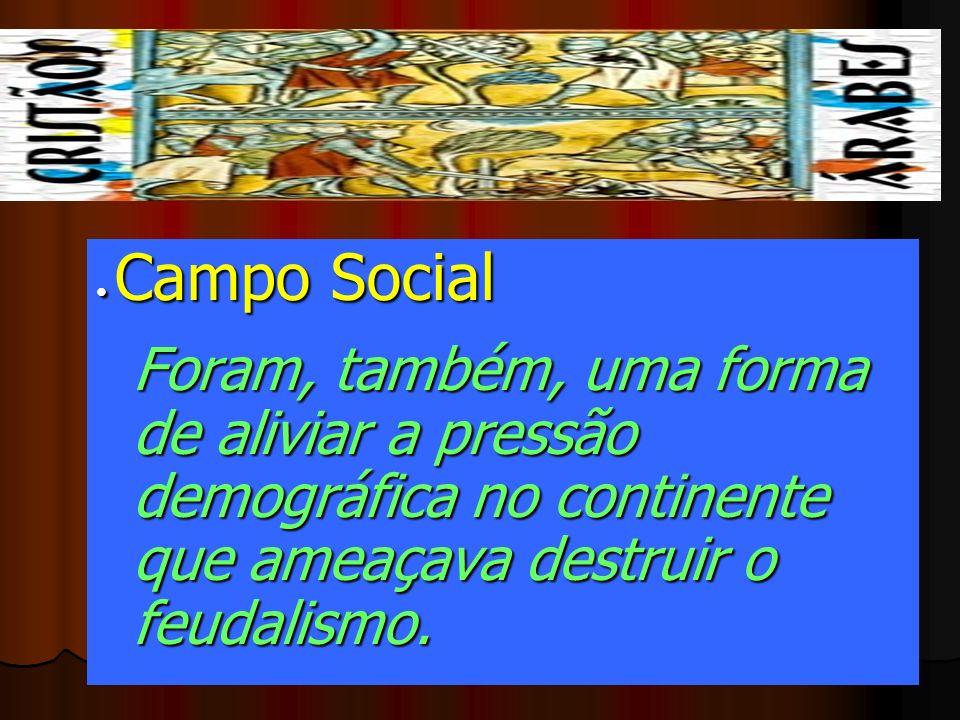 • Campo Social Foram, também, uma forma de aliviar a pressão demográfica no continente que ameaçava destruir o feudalismo.