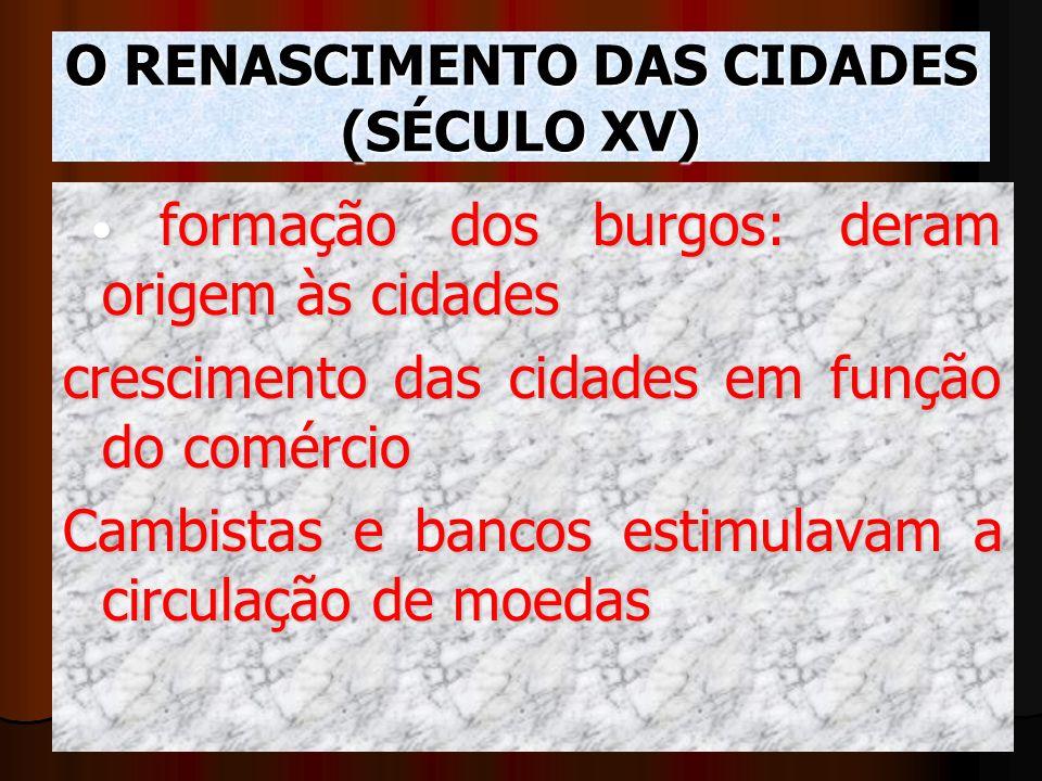 O RENASCIMENTO DAS CIDADES (SÉCULO XV)