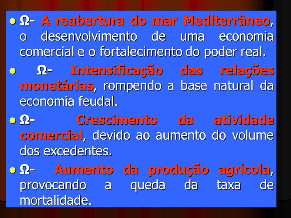 Ω- A reabertura do mar Mediterrâneo, o desenvolvimento de uma economia comercial e o fortalecimento do poder real.