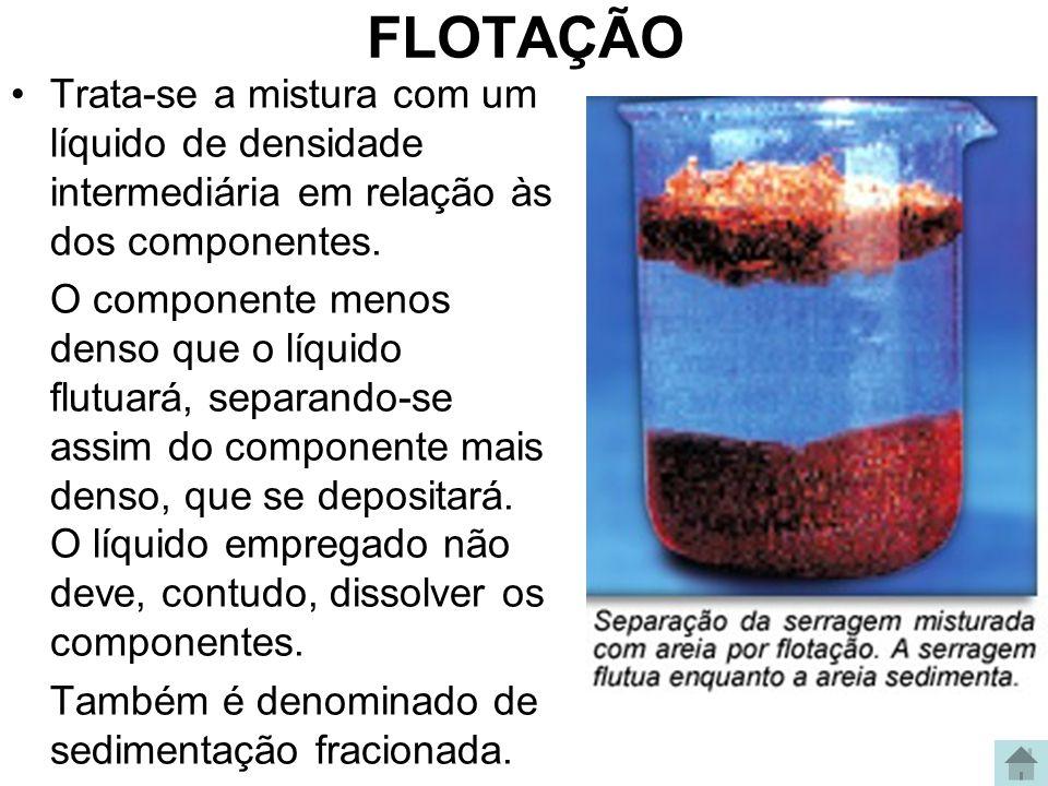 FLOTAÇÃO Trata-se a mistura com um líquido de densidade intermediária em relação às dos componentes.